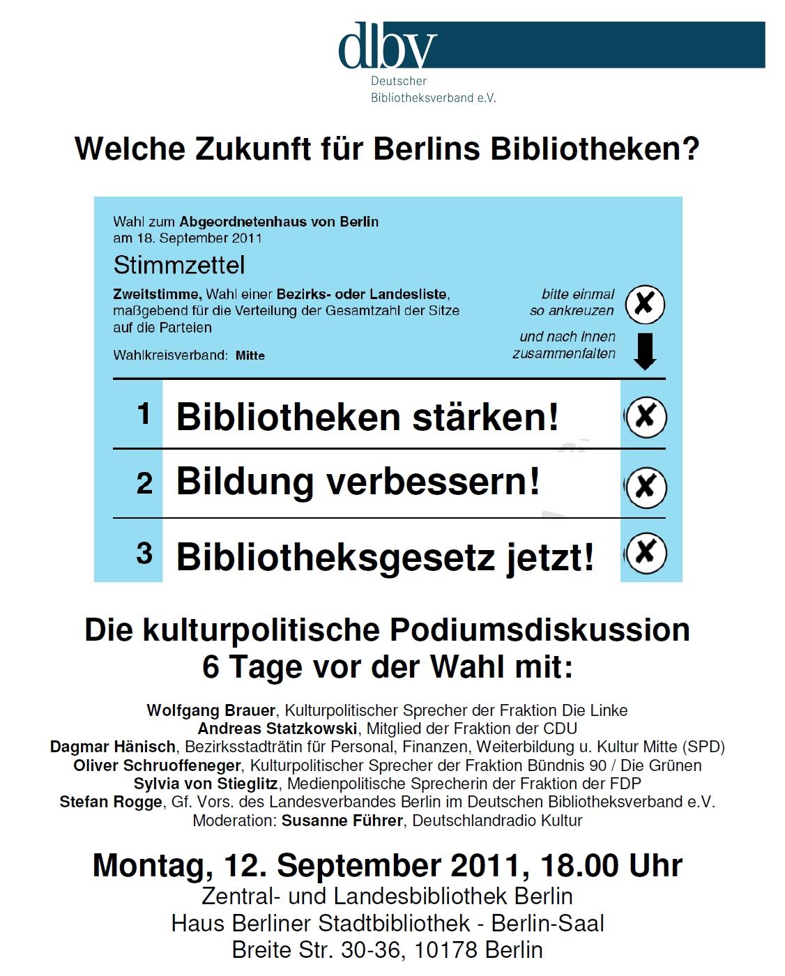 """Plakat Podiumsdiskussion """"Welche Zukunft für Berlins Bibliotheken?"""""""