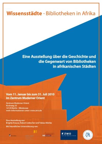 Flyer zur Ausstellung Bibliotheken in Afrika im ZMO